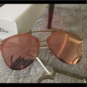 NWT, Dior Rose Gold Mirror Sunglasses